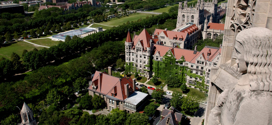 View of the Midway Plaisance on UChicago campus