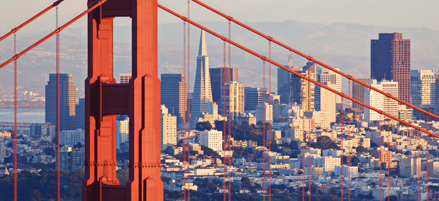 View of downtown San Francisco from Golden Gate Bridge