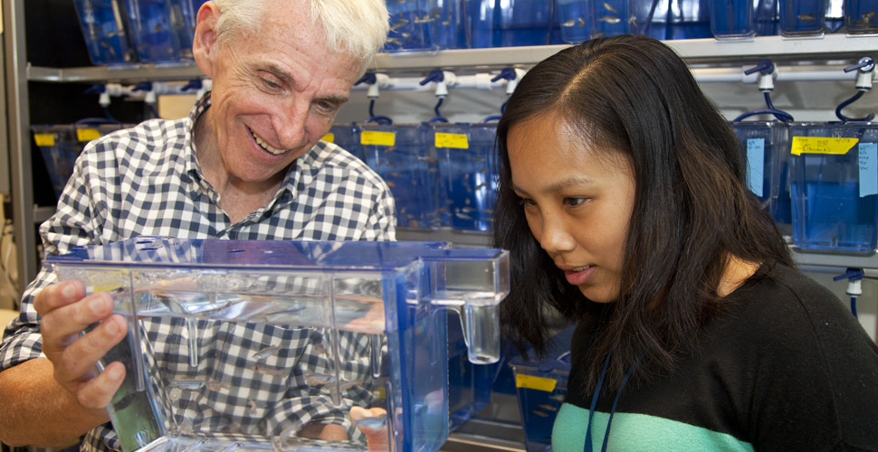 Clara Kao and her adviser at the lab.