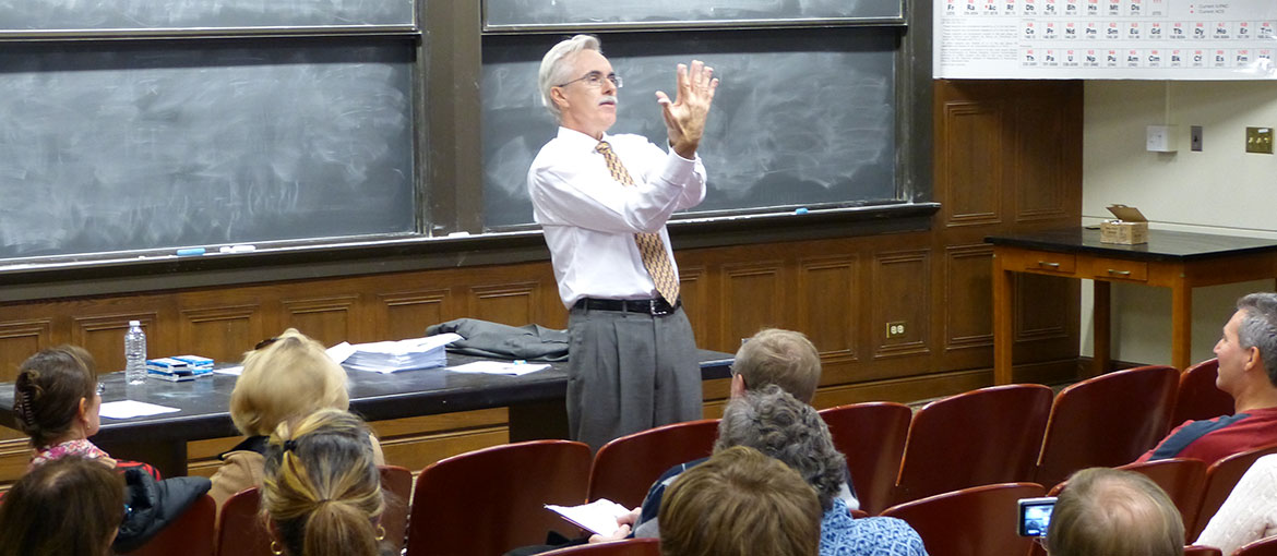 College professor in classroom