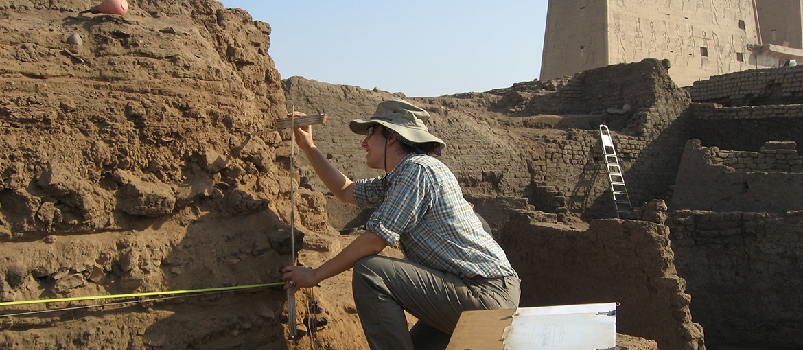 Archaeologist works at dig site in Egypt