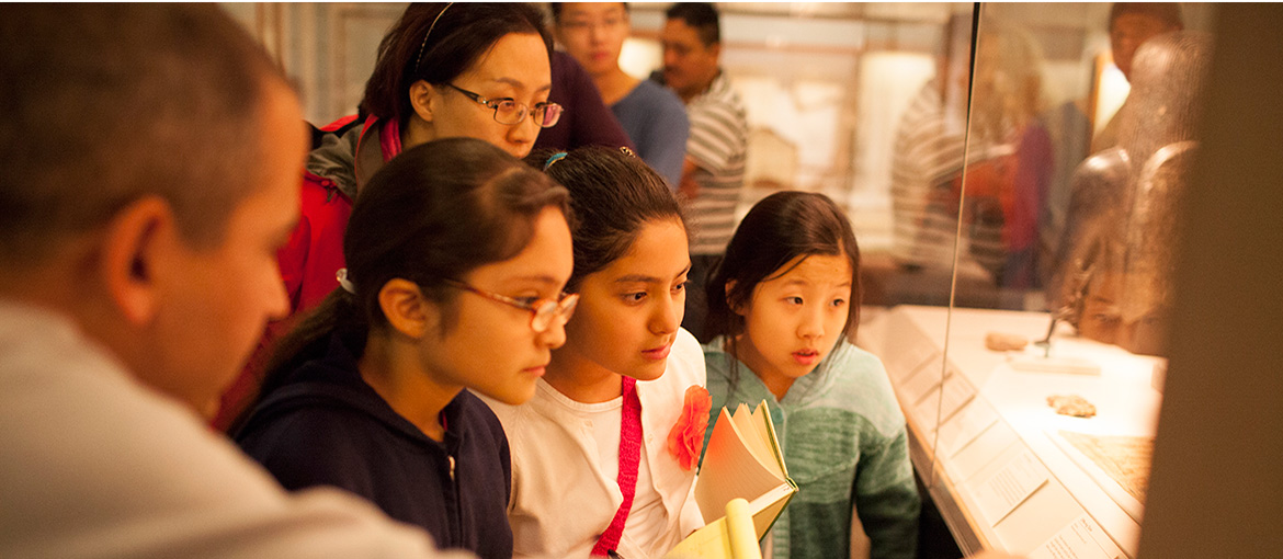 Kids visiting the Oriental Institute view special exhibits