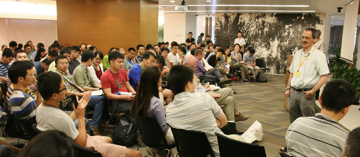 BFI faculty speaking to students