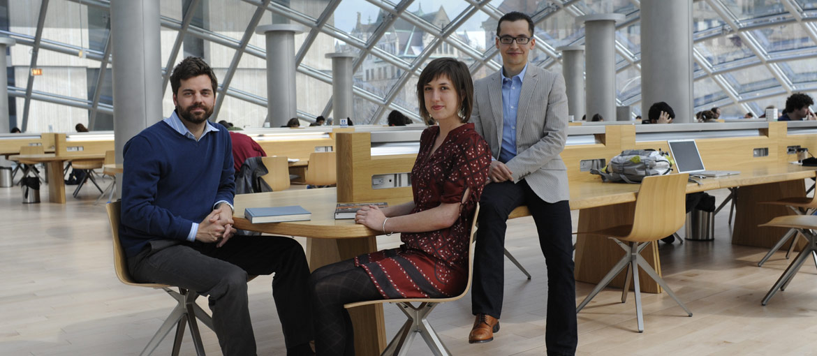 Division of the Humanities grad students in Mansueto Library