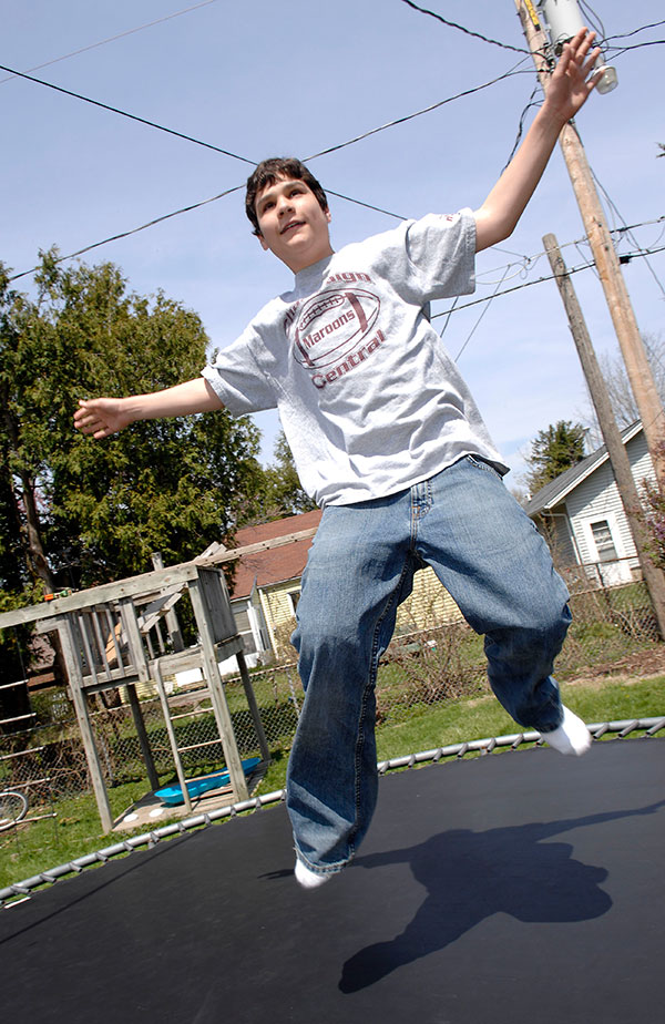 Marc Myers on his trampoline