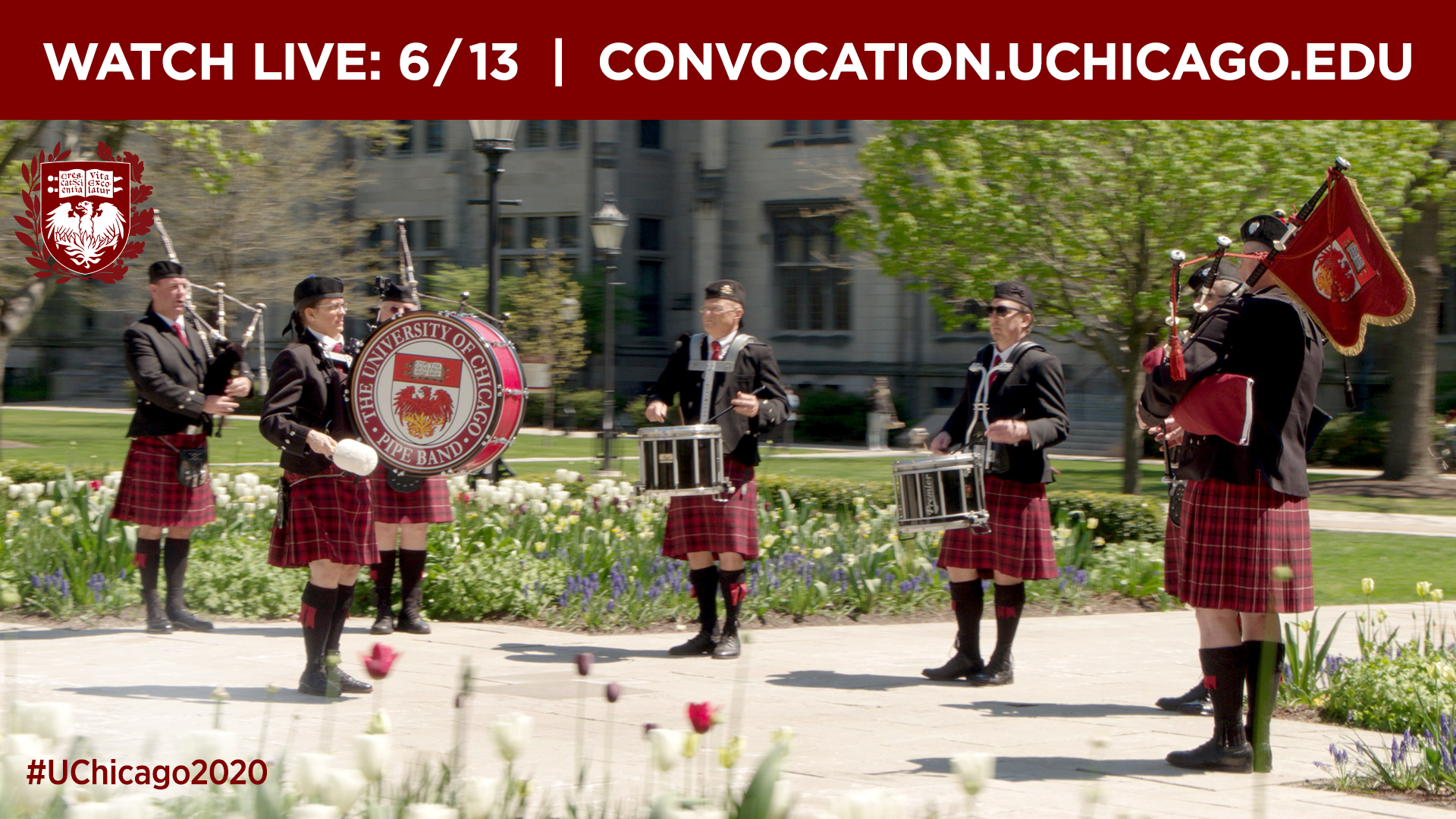 UChicago Pipe Band performing in the quad
