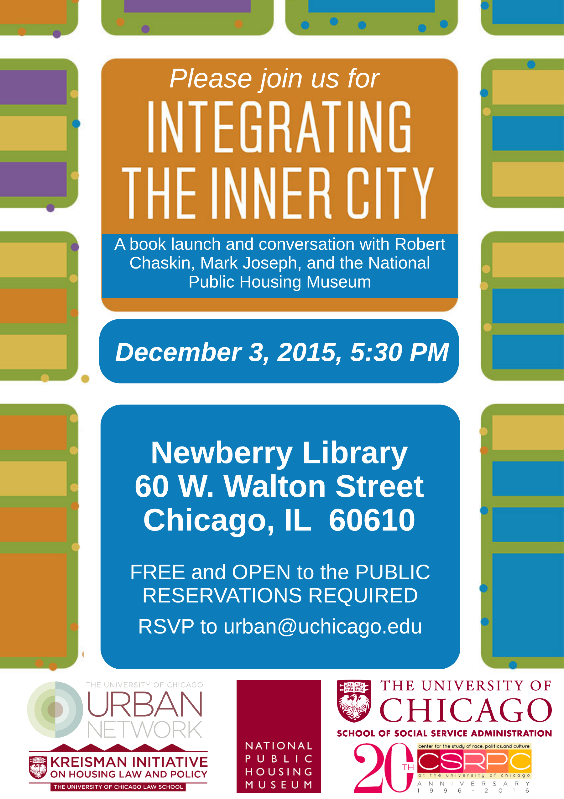 Please join us on Thursday, December 3, at 5:30PM at the Newberry Library  in downtown Chicago for a conversation with Rob Chaskin (UChicago SSA,)  Mark ...