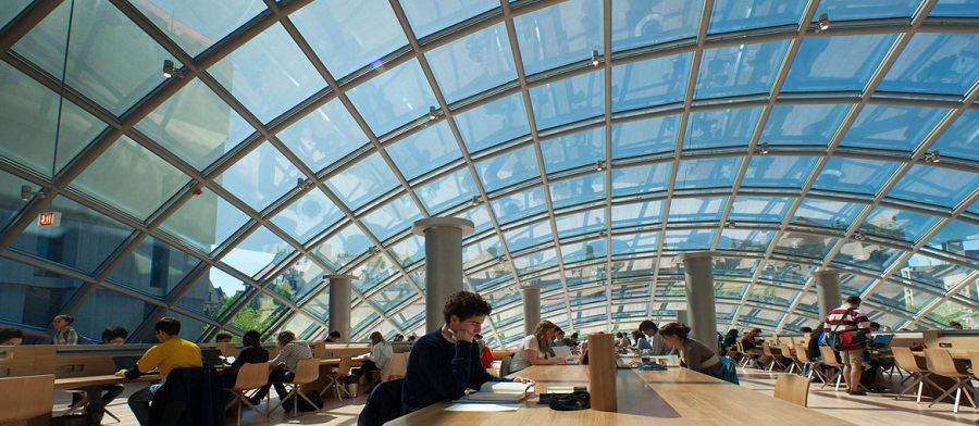 Students studying in Mansueto Library during the day.