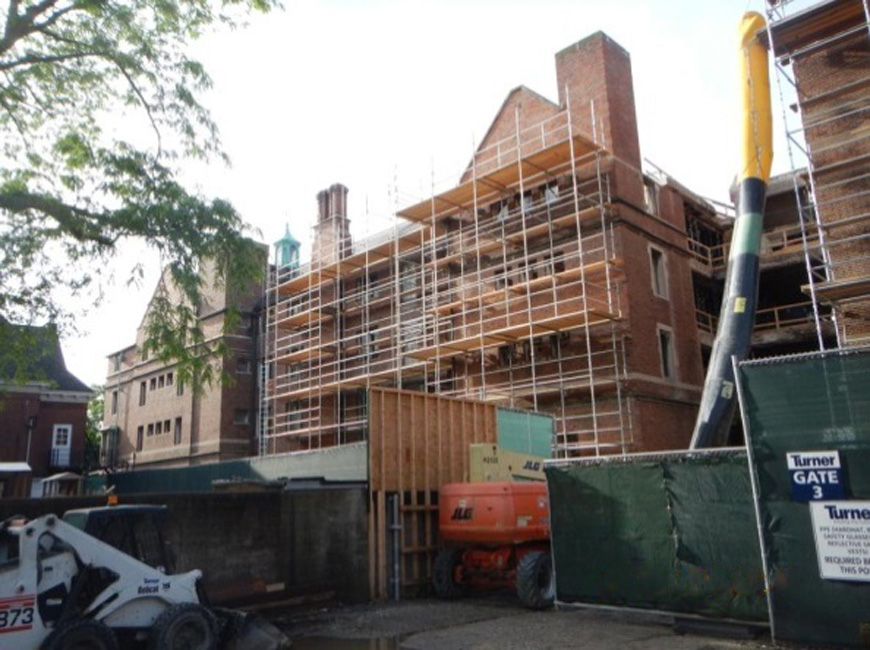 Scaffolding on northeast section.
