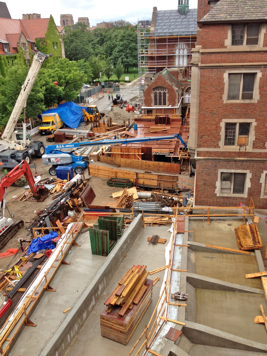 Overhead view of construction site