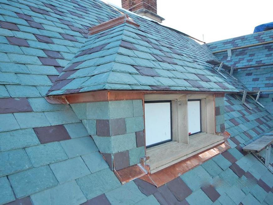 Slate roof and copper flashing