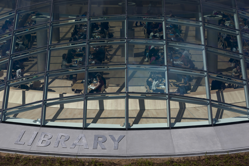 Library signage and window