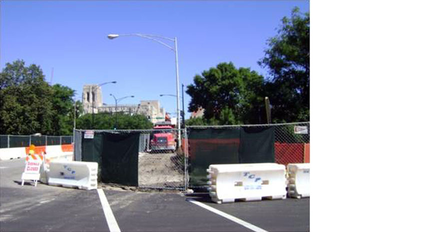 Ellis Avenue – Construction Site and Temporary Barriers