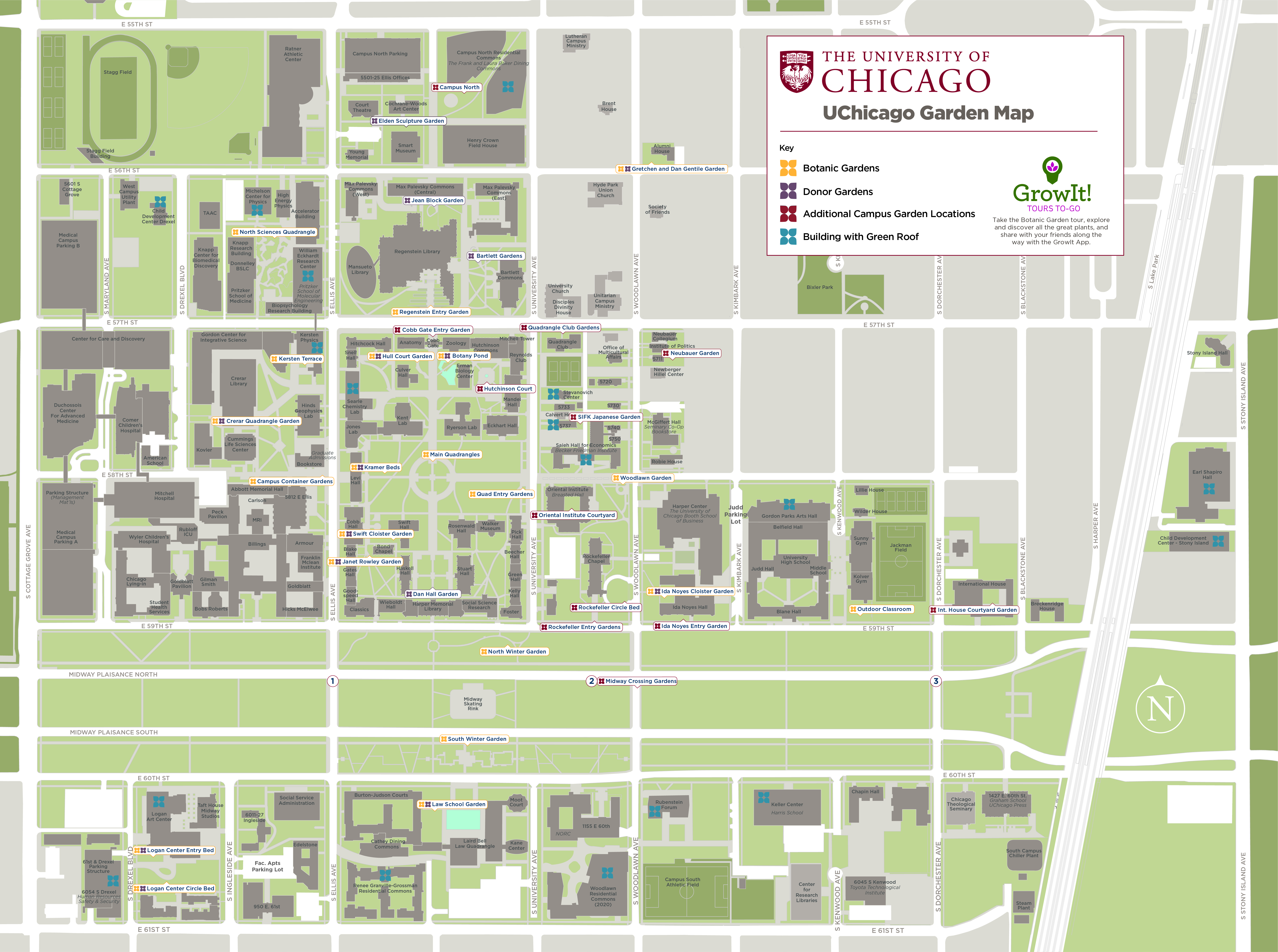 map of u of c campus Uchicago Garden Map The University Of Chicago Facilities Services map of u of c campus