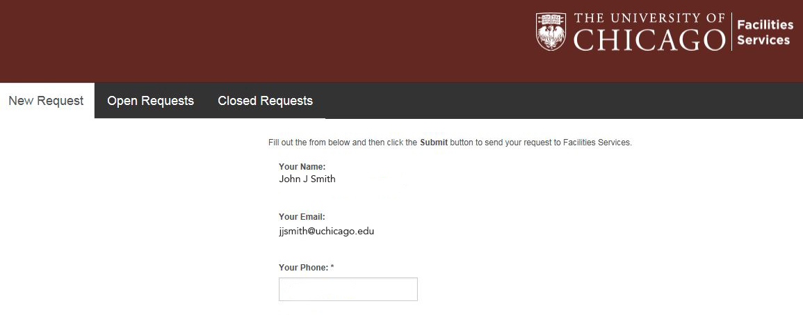 service request the university of chicago facilities services