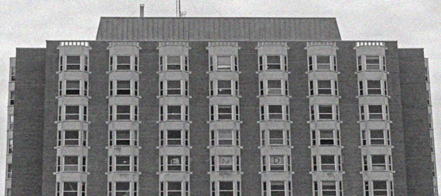 Pierce Tower black and white image