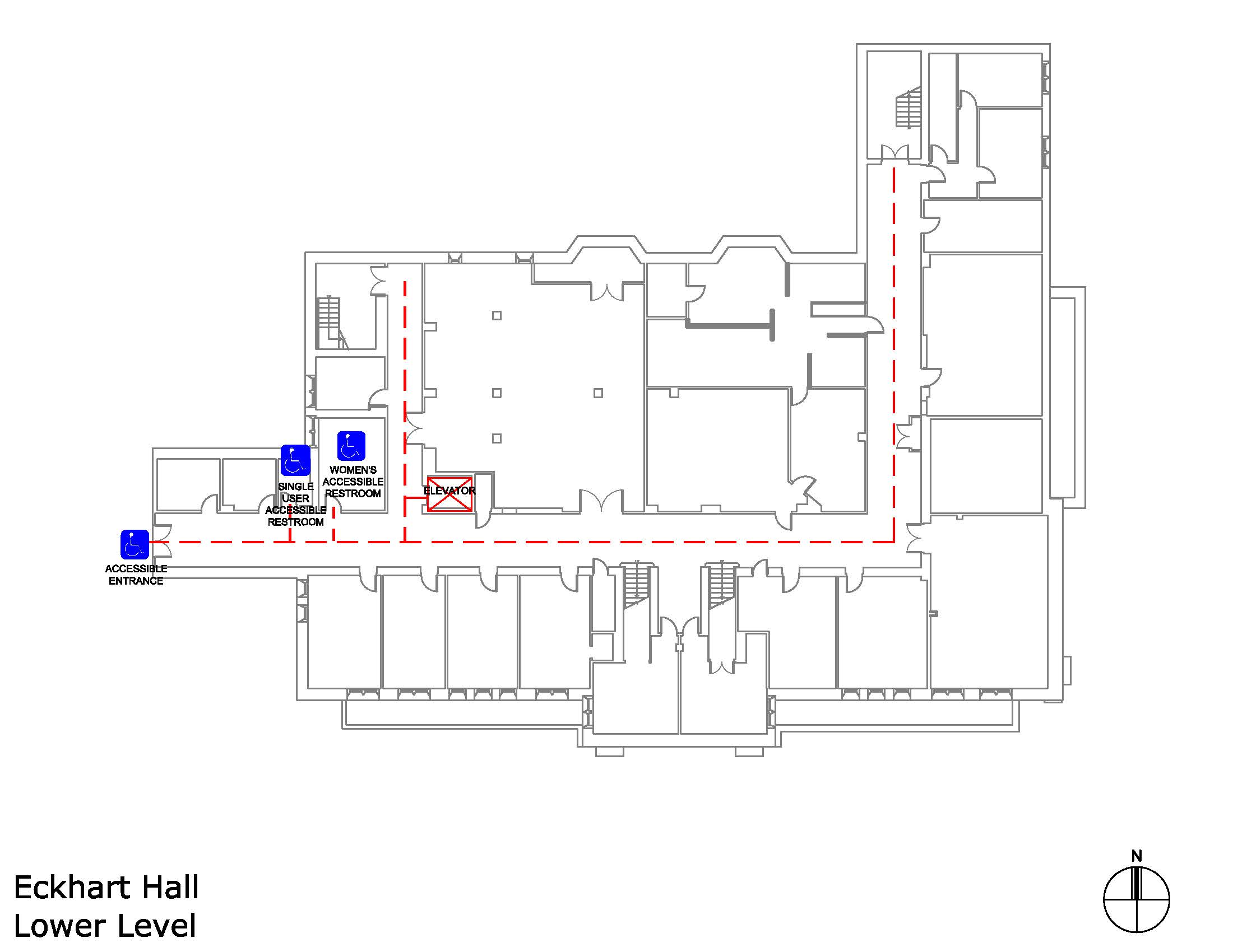 Eckhart Hall lower level accessible areas