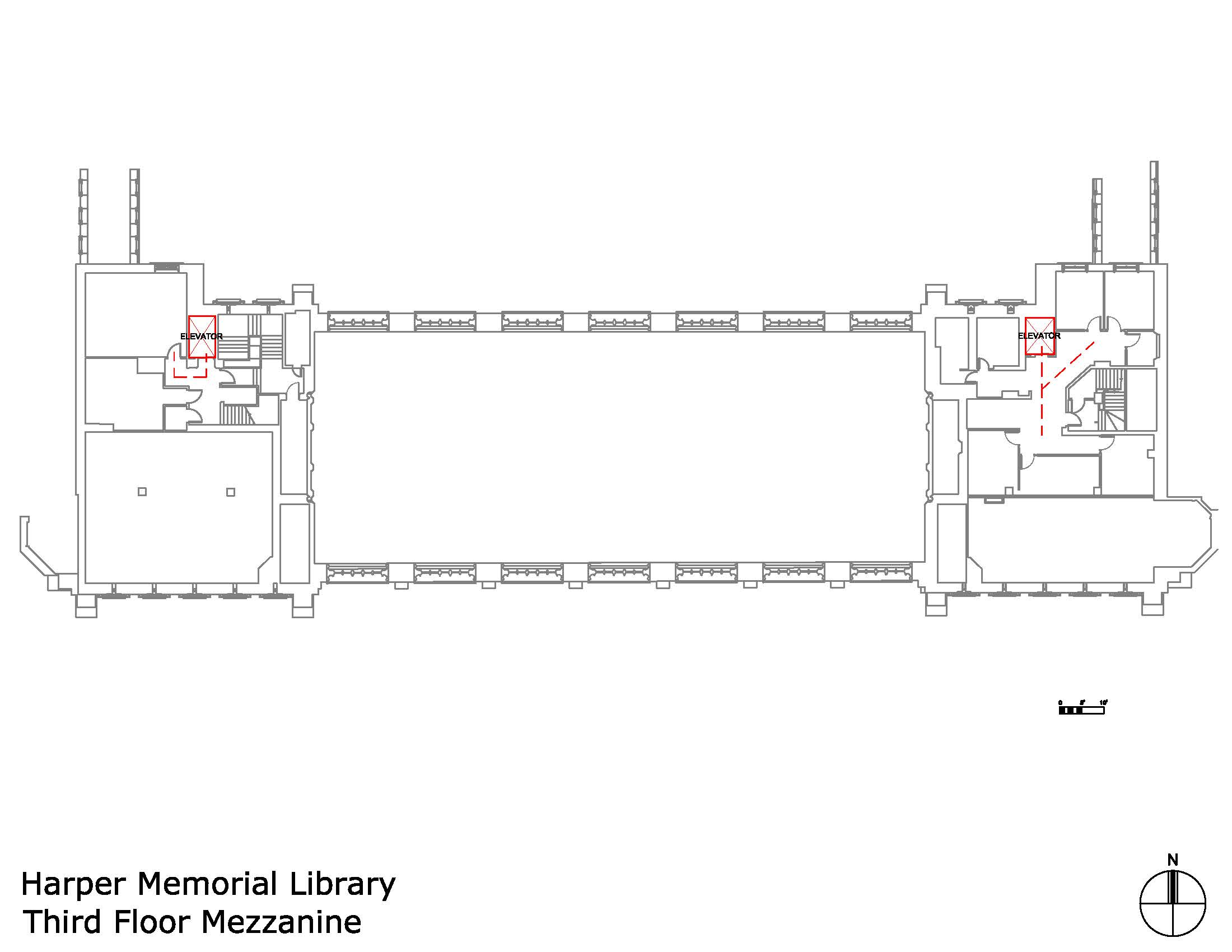 Harper Memorial Library third floor mezzanine accessible areas