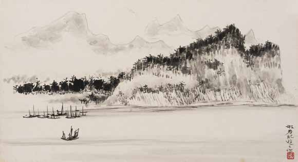 'Album of Hong Kong Sketches: Leaf 12' by Wong Po-yeh, Dated 1958 <br>黃般若,香港寫生冊:第十二開 - 1958 年