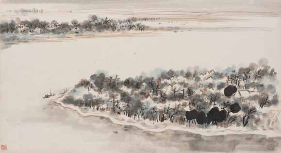 'Album of Hong Kong Sketches: Leaf 6' by Wong Po-yeh, Dated 1958 <br>黃般若, 香港寫生冊:第六開 - 1958 年
