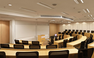 This rendering shows a stepped lecture hall at the Center in Delhi.