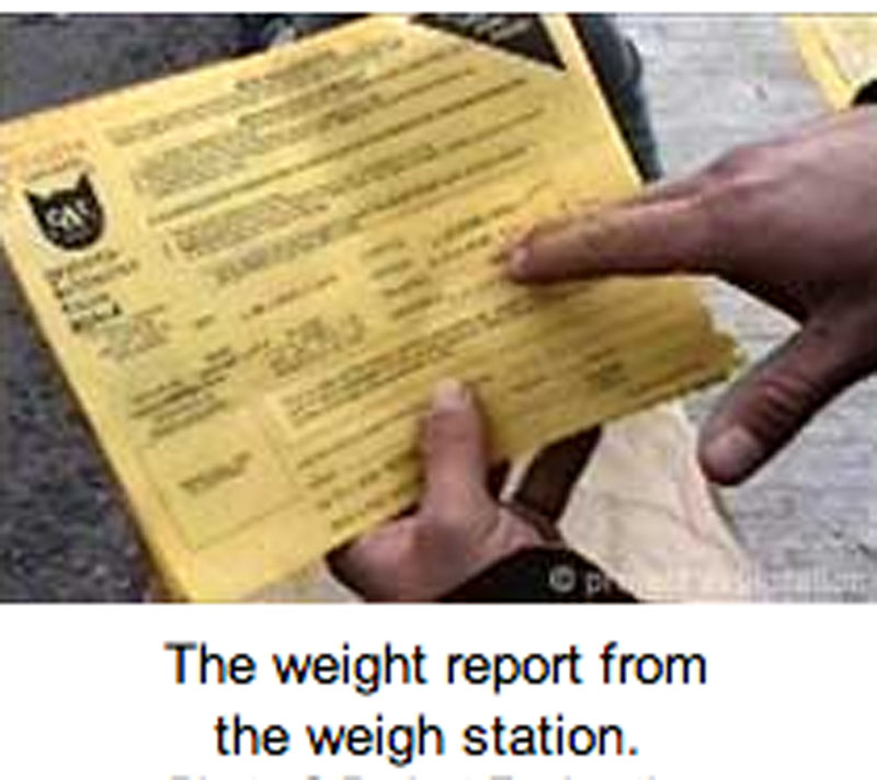 The weight report from the weigh station