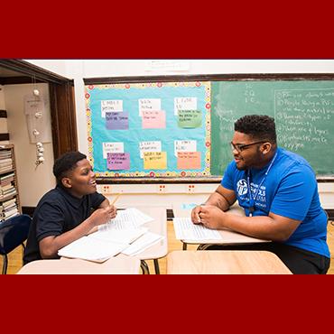 UChicago student tutors an elementary student