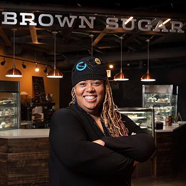 Woman owned restaurant, chef portrait