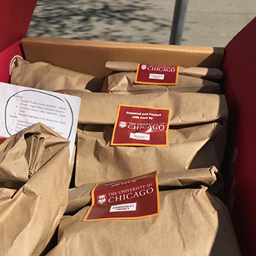 Bags of meals prepared for Office of Civic Engagement food give away