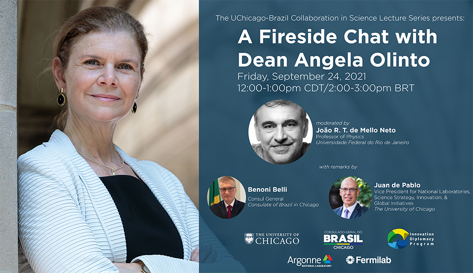 Dean Angela Olinto Fireside Chat Poster