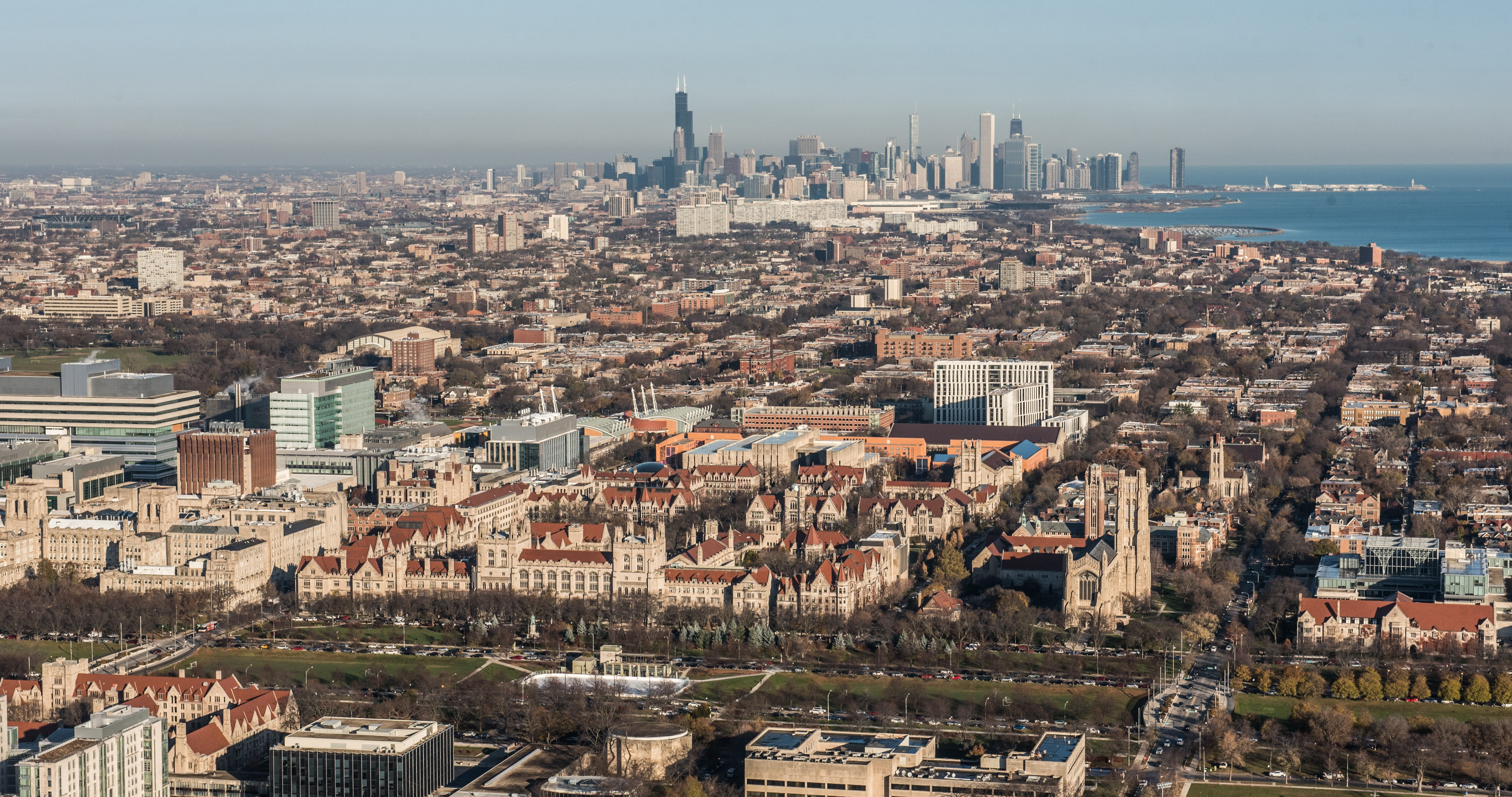 aerial view of the city and University