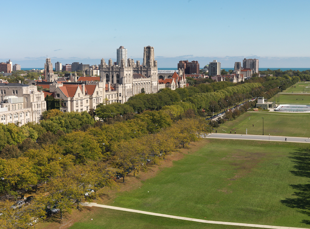 An aerial view of the Midway Plaisance and North Campus.