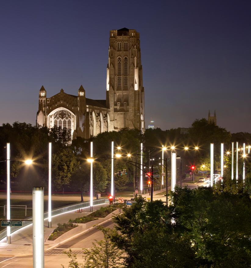 University of Chicago campus at night