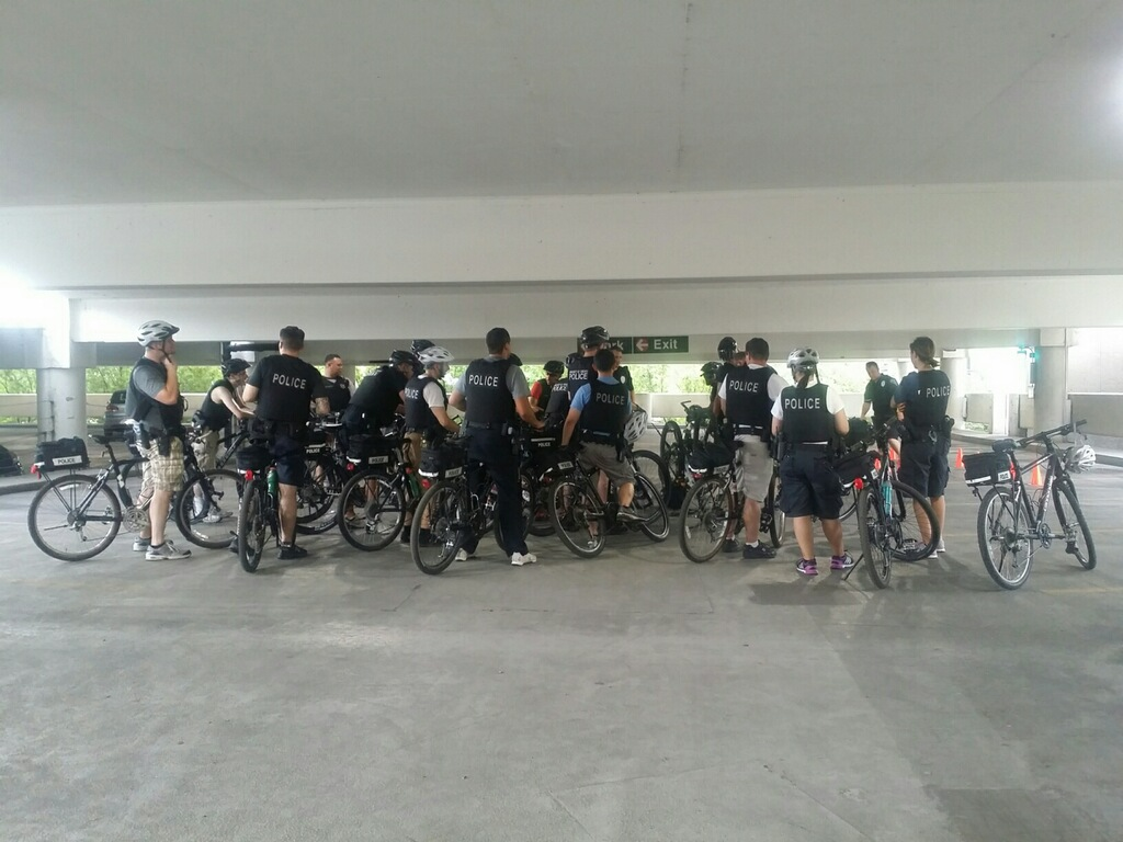 Members of the UCPD's bike patrol listen to an instructor during the training period.
