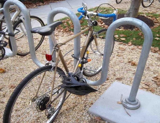 Bike locked on bike rack