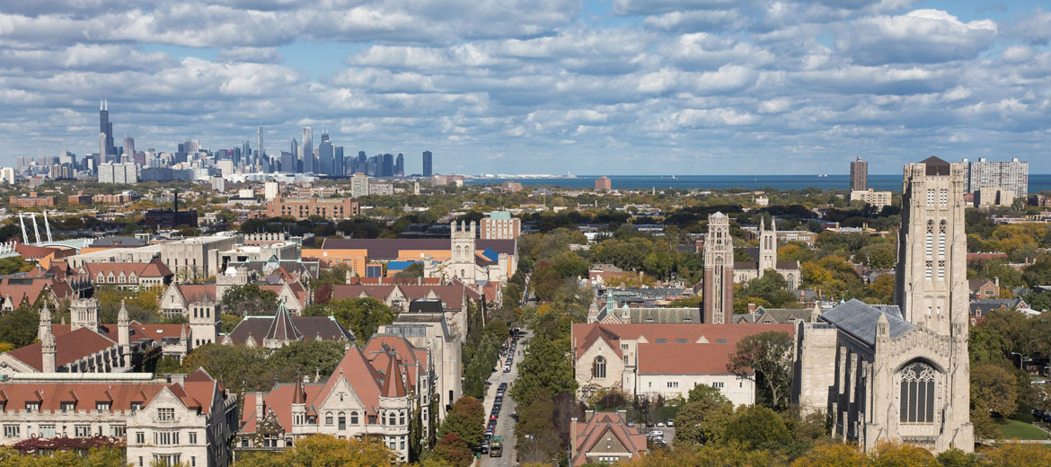 Aerial view of University of Chicago campus
