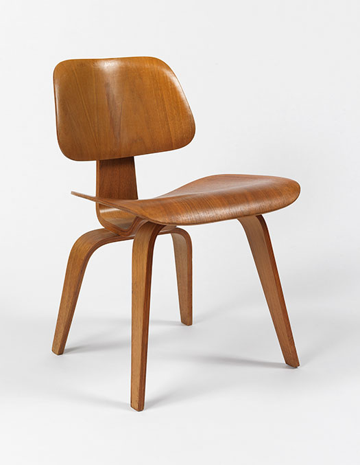 Charles and Ray Eames, Dining Chair, 1946, Molded and bent (birch?) plywood and rubber shock mounts. Smart Museum of Art, University of Chicago, Gift of Barry Friedman, 1984.23.