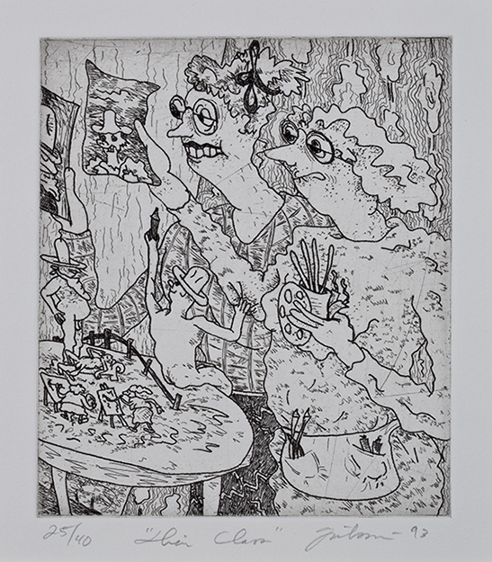 A wavy-lined etching by Gladys Nilsson shows two figures holding up drawings while miniature people on a table paint on easels.