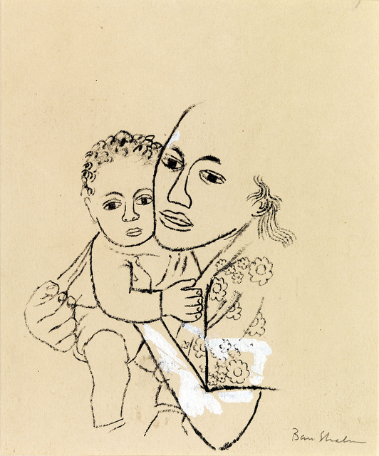 Ben Shahn, Studies of the Hickman Murder Case [She was born in June and she was beautiful.], 1948, Pen and ink on wove paper, reworked with white pigment. Smart Museum of Art, University of Chicago, Gift of Marian and Leon Despres, 2008.11.4. Art © Estat
