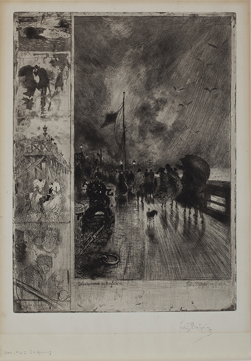Félix Buhot, A Landing in England, 1879, Etching, drypoint, aquatint, and stipple engraving, state 4 of 5, proof impression (1 of 20). Smart Museum of Art, The University of Chicago, Purchase, The Paul and Miriam Kirkley Fund for Acquisitions, 2010.115.
