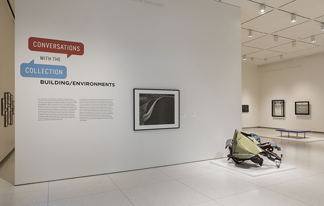 Installation view, showing works by Toshio Shibata and John Chamberlain