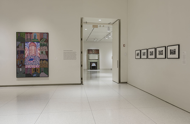 Installation view, showing works by Philip Hanson, Gustave Serrurier-Bovy, and Adrian Piper