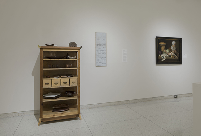 Installation view, showing works by Theaster Gates and Justus Juncker