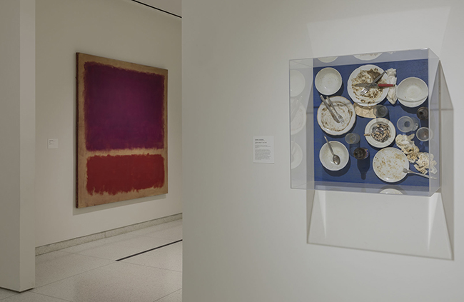 Installation view, showing works by Mark Rothko and Daniel Spoerri