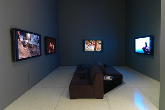 Installation view of Chen Qiulin's Rhapsody on Farewell (2002), River, River (2005), Color Lines (2006), and Garden (2007).