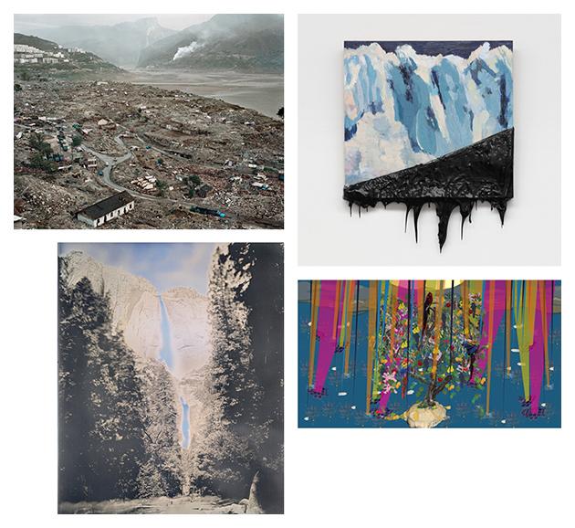 A collage of artworks by Edward Burtynsky, Minerva Cuevas, Binh Danh, and Ranu Mukherjee.