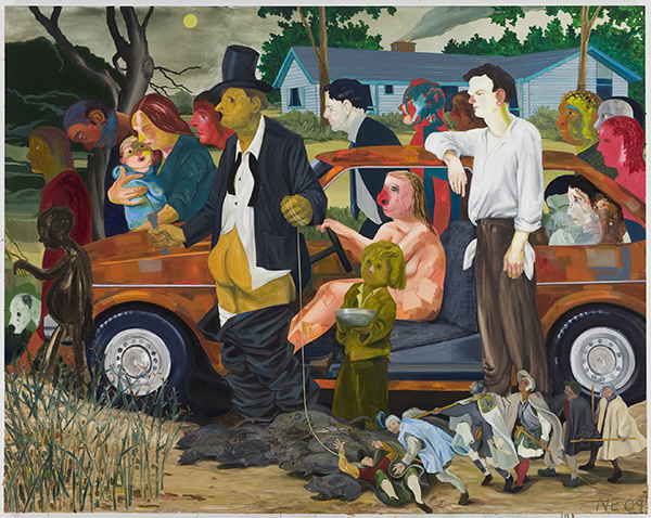 A painting of multiple characters marching alongside a car in subdued but vibrant colors