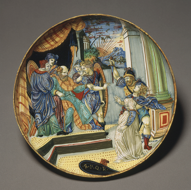 Francesco Xanto Avelli da Rovigo, Footed Plate with the Death of Virginia, dated 1539, Tin-glazed earthenware with lustre decoration. Saint Louis Art Museum, Museum Purchase, 10:1933.