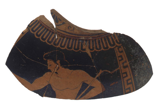 Euphronios, Red-Figure Neck Pelike Fragment: Ephebe (Youth), c. 510 B.C.E., Earthenware with slip-painted decoration. Smart Museum of Art, The University of Chicago, The F.B. Tarbell Collection, 1967.115.287.