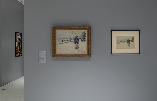 A painting and print of the same subject are hung side-by-side